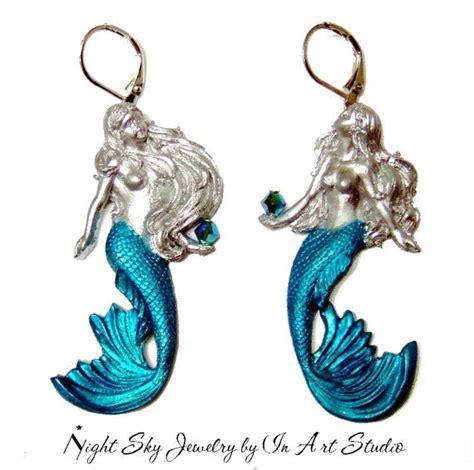 Mermaid Earring mermaid earrings silver and blue mermaid jewelry