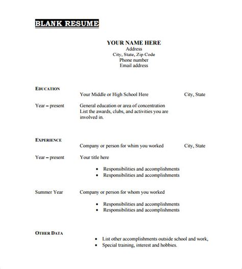Blank Resume Template 15 Free Psd Vector Eps Ai Resume Template Pdf