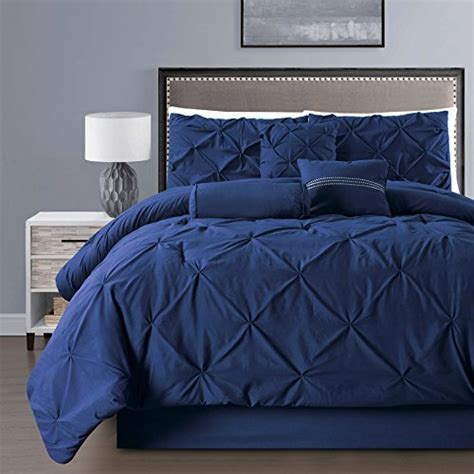 navy blue full size comforter 7 piece solid navy blue pinch pleat duvet cover set full