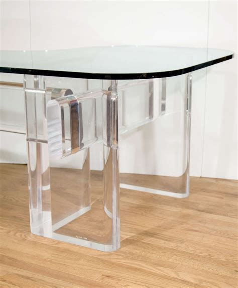 Custom L Shaped Desk Custom Made Quot L Quot Shaped Lucite And Glass Desk By Karl Springer At 1stdibs