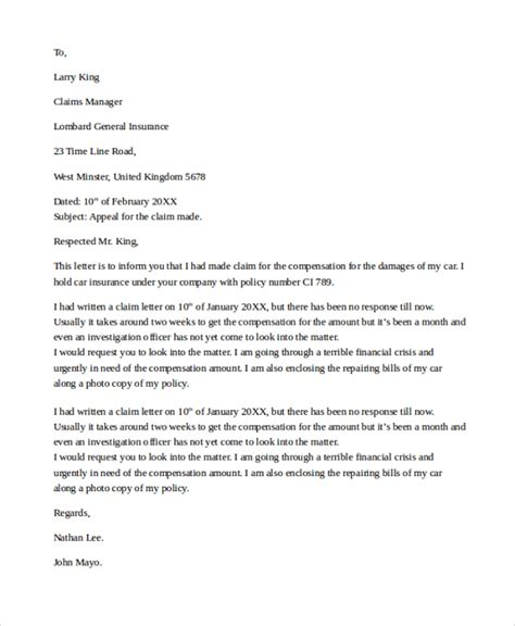 Appeal Letter For Offer Letter To Insurance Company To Settle Claim Settlement