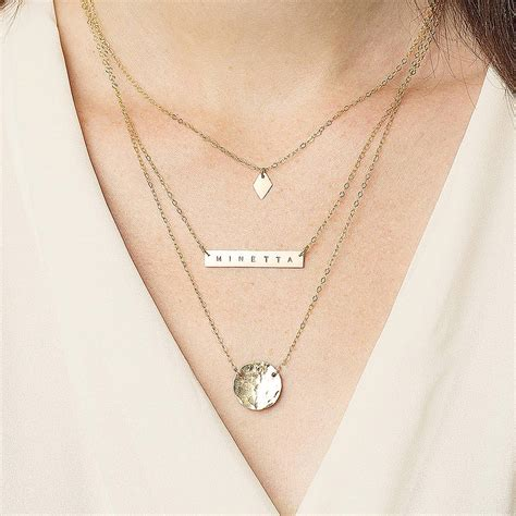 Layered Necklace personalised layering necklace set by minetta jewellery