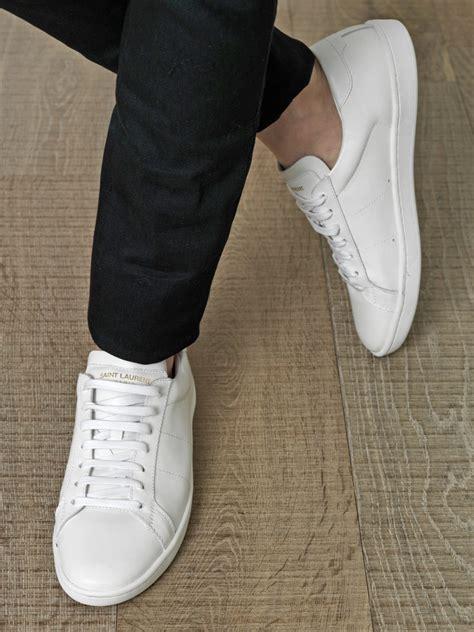 saint laurent leather lace  trainers  white  men lyst