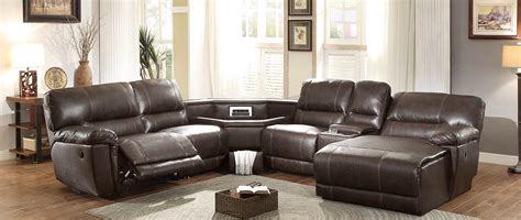 sectional with table wedge reclining leather sectionals