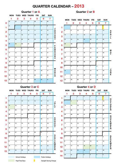 2013 calendar quarters calendar template 2016