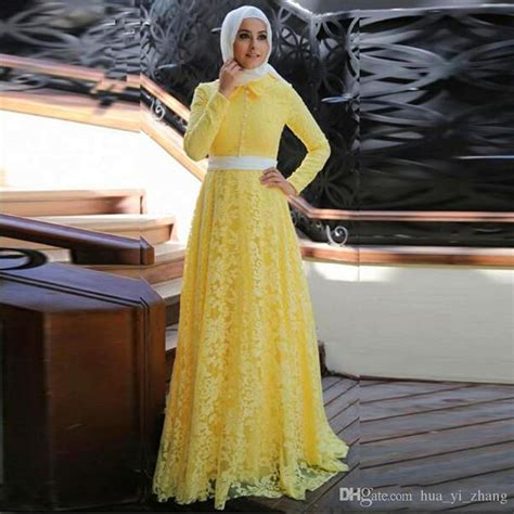 elegant yellow lace muslim evening dress  hijab