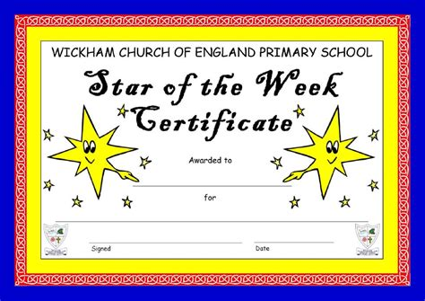 8 best images of star of the week certificate star of