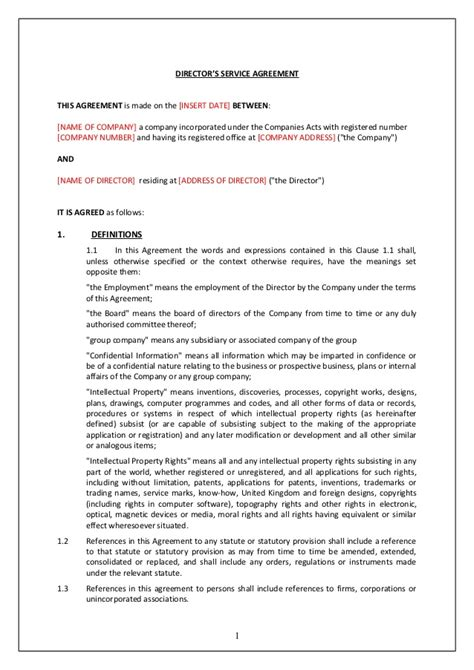 director employment contract template directors service contract tcw