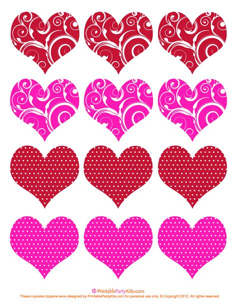 free printable valentine cupcake toppers printable party