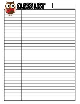 free class list template owl themed class list for 30 students sle free