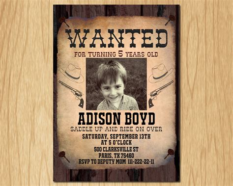 wanted invitation template cowboy birthday invitation wanted poster west