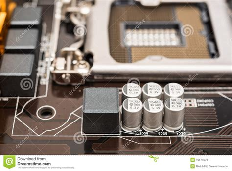 capacitor on laptop motherboard capacitor and electronic components stock photo image 49674079