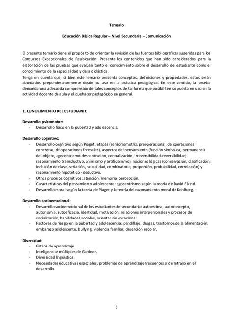 balotario desarrollado para el concurso de nombramiento de temario ebr nivel secundaria comunicaci 243 n concurso de