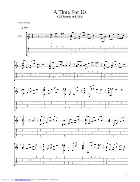 romeo and juliet theme guitar a time for us theme from romeo and juliet guitar pro tab