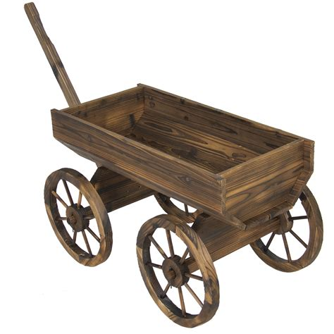 wooden wagon planter garden wood wagon flower planter pot stand with wheels home outdoor decor ebay