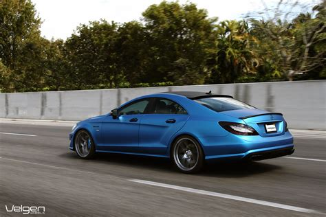 blue mercedes matte blue mercedes benz cls550 on velgen wheels vmb5