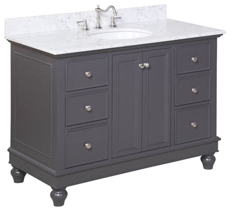 Charcoal Bathroom Vanity bath vanity carrara charcoal gray 48 quot single traditional bathroom vanities and sink
