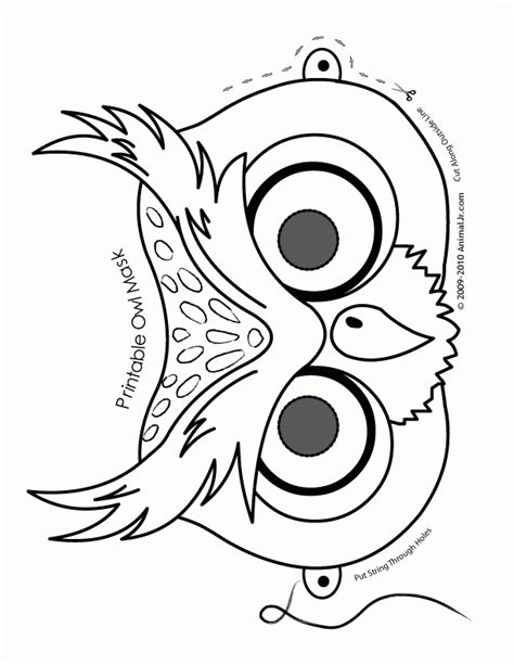 printable owl face fantasy jr owl mask coloring page coloring home