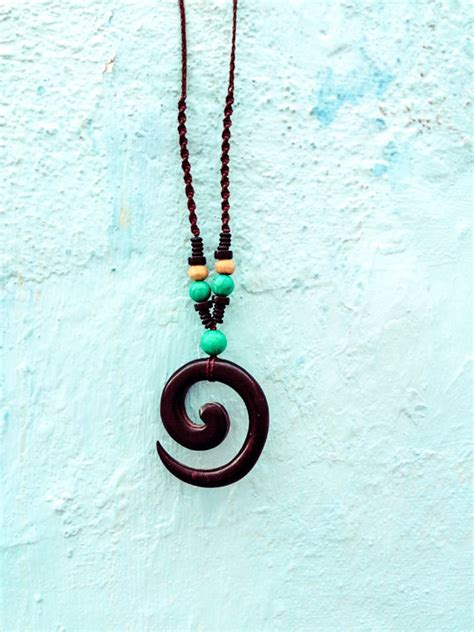 Spiral Macrame - wooden spiral necklace turquoise mens necklace macrame