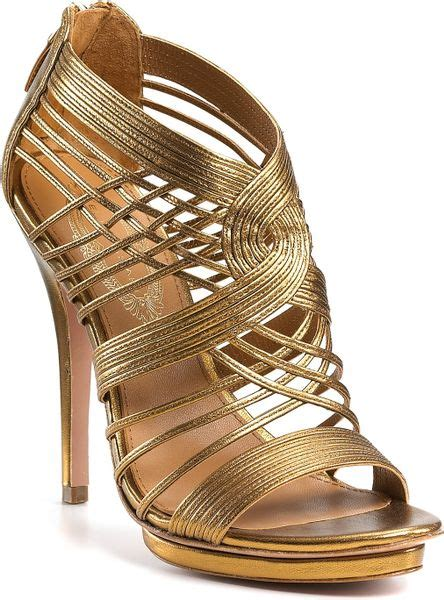 bronze gold sandals elie tahari colby strappy sandals in gold bronze lyst