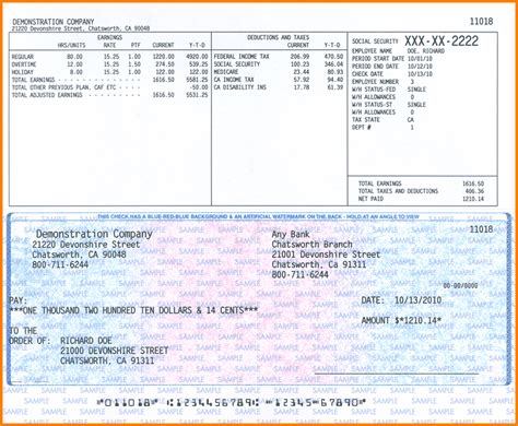 Payroll Checks Templates employee pay stub paycheck stub template free blank paycheck pdf