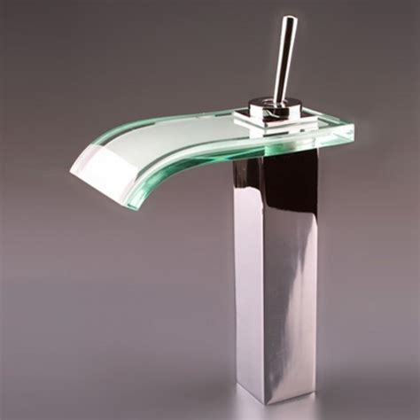 faucets images single handle mount glass waterfall cold