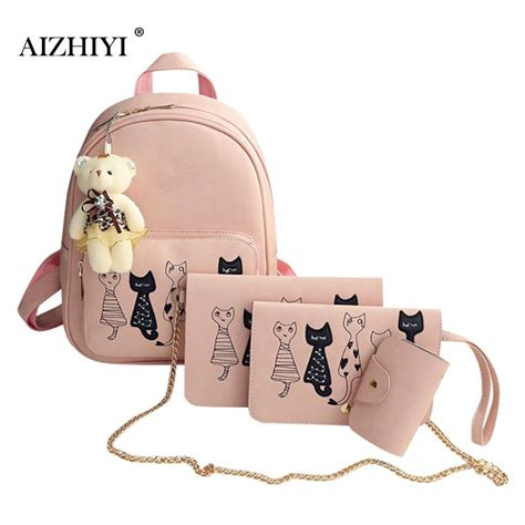 Lovely Cat Backpack By Anfashion 4pcs lovely cat printed backpack pu leather backpack