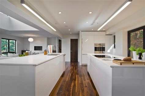 walnut floors kitchen modern with cooktop fluorescent