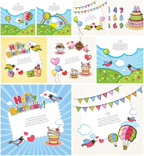 Kids Vector Graphics Blog Card Templates For Children