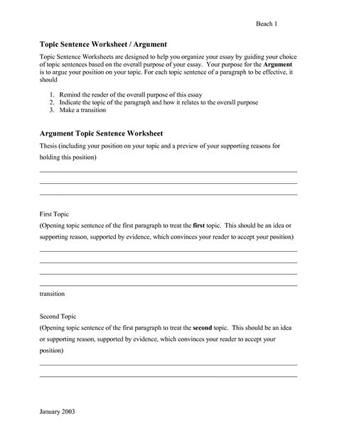 16 best images of topic sentences worksheets pdf writing