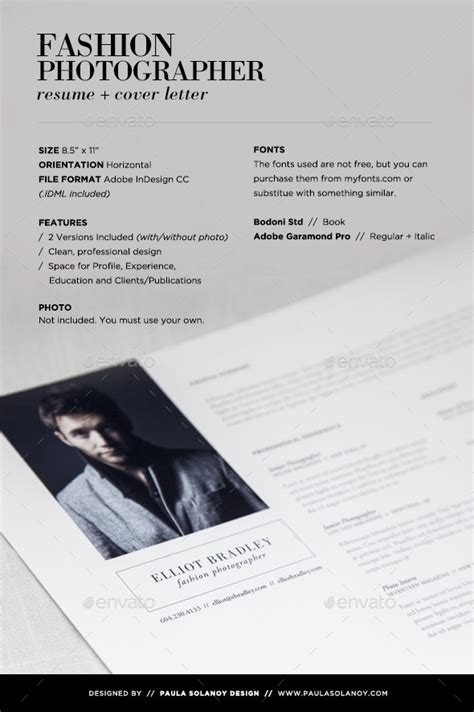 photographer resume cover letter graphicriver