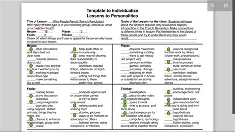The Template Is Up Plus Here S Some Exles On How To Use It Learning With Personality Ways Of Working Template