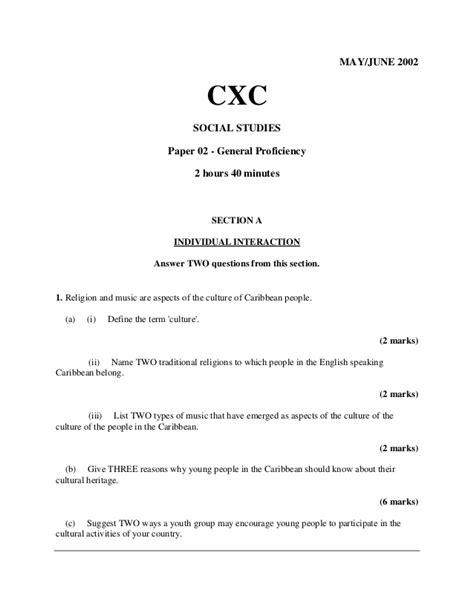 2002 C X C Social Studies