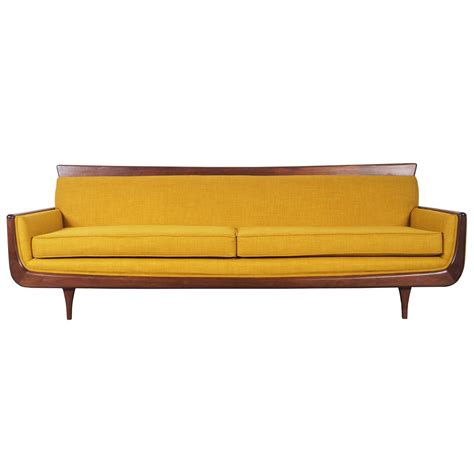 Mid Century Sofa with Mid Century Modern Walnut Sofa At 1stdibs