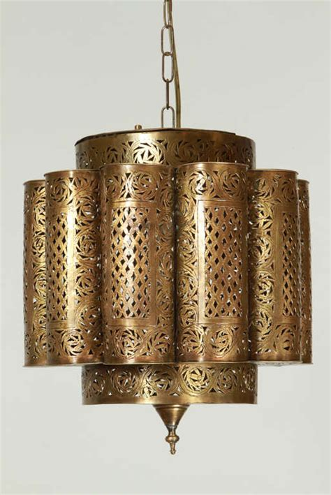Moroccan Light Fixtures Pierced Brass Moroccan Light Fixture In Alberto Pinto Style At 1stdibs