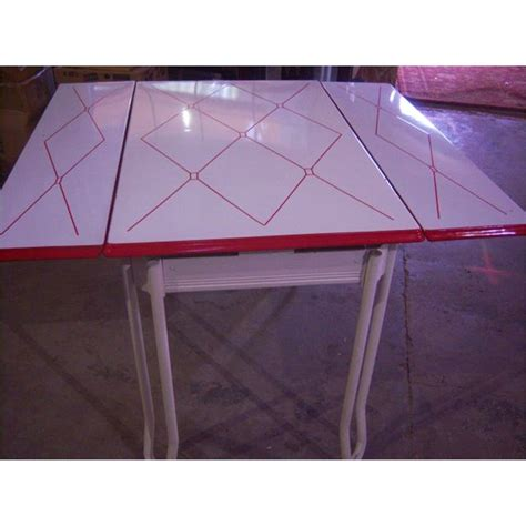 table with slide out leaves retro 1950 s metal dining table w 2 slide out leaves