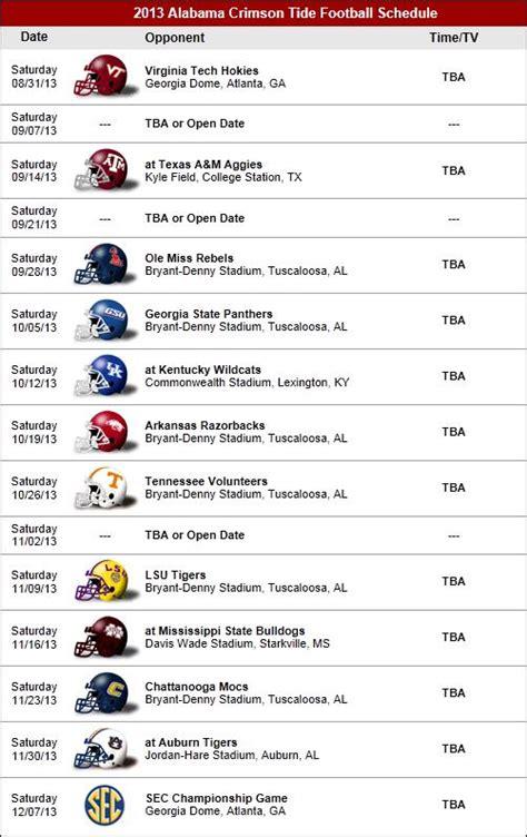 printable schedule for alabama football 2015 alabama football schedule 2016 calendar template 2016