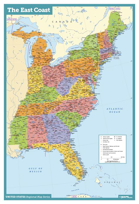 map of the east coast in usa east coast usa wall map maps