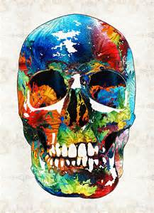 colorful skeleton colorful skull aye by