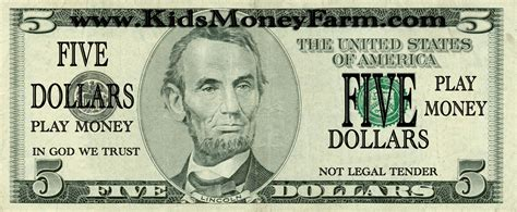 free printable fake money front and back printable play money 5 coloring kids