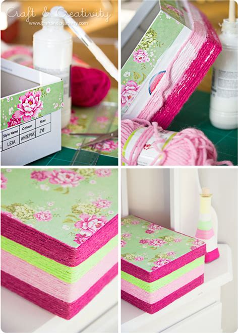 Decoupage Shoebox - garnlindad skol 229 da yarn wrapped shoe box craft