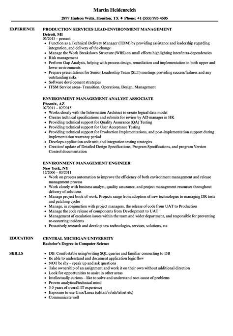 Environment Management Resume Samples | Velvet Jobs