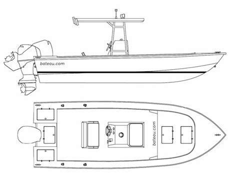 how to draw a boat in cad center console fishing boat drawing