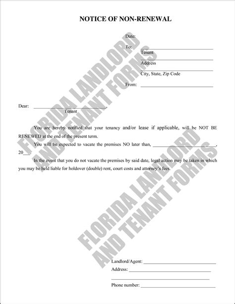 Lease Non Renewal Letter Florida Use A Notice Of Non Renewal Form To Not Renew Your Tenant S Lease