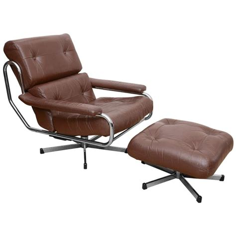 leather swivel chair and ottoman 1960 s pieff leather and chrome swivel chair with ottoman