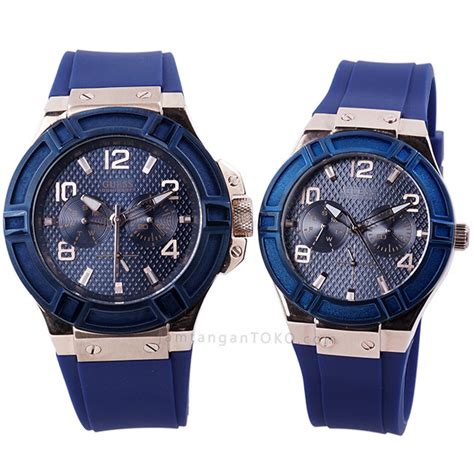 Jam Cauple Blue by Harga Sarap Jam Tangan Guess Fashion Rigor Blue Rubber