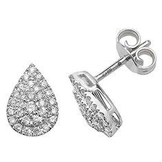 White 0 50crt brilliant cut claw set cluster stud earrings