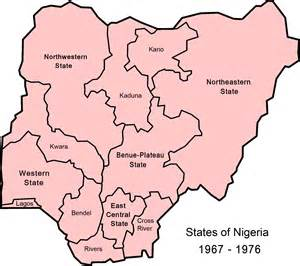 Map Of Nigeria States by File Nigeria States 1967 1976 Png