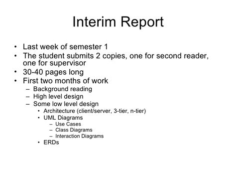 interim report exle for dissertation the year project process