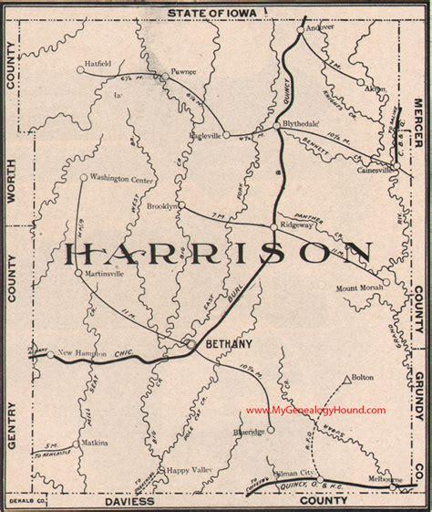 harrison county map harrison county missouri 1904 map